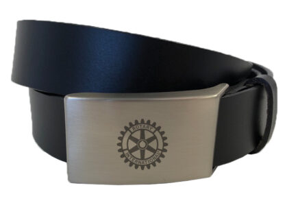 Leather Belt with Engraved Rotary Logo