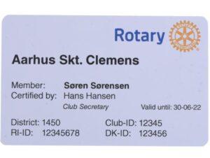 Membership Card for Rotary International RI100